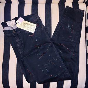 Current Elliot coated skinny jeans splatter 30